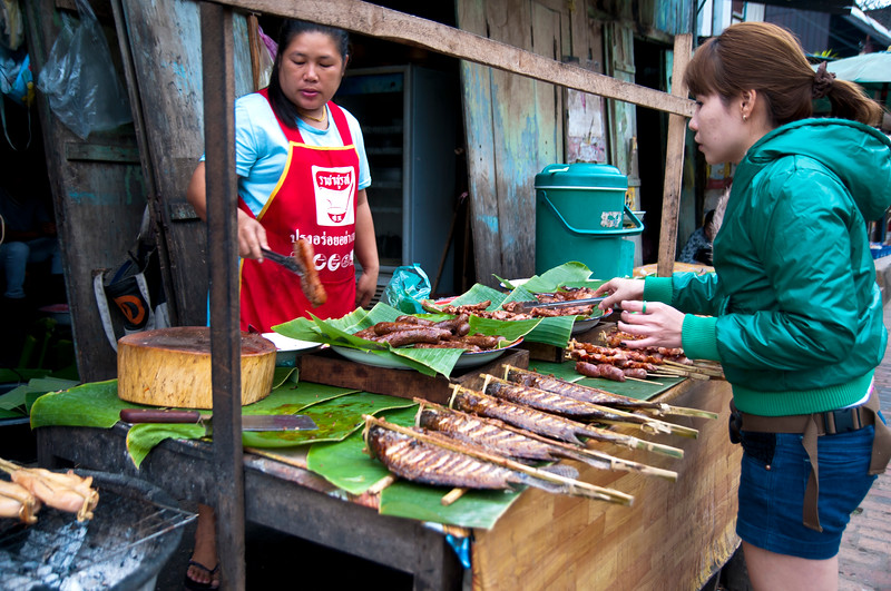 Street vendor sells grilled meat and fish, Luang Prabang, Laos.