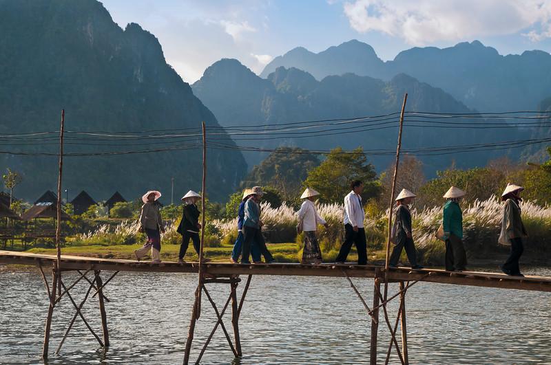 Footbridge over Nam Song River, Vang Vieng, Laos.