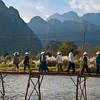 Footbridge over Nam Song River, Vang Vieng, Laos.