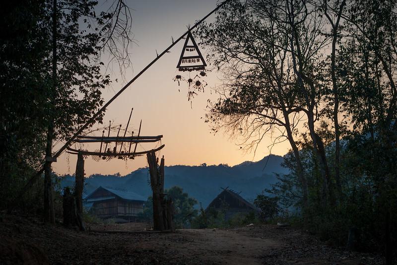 Akha spirit gate. Akha village. Muang Sing