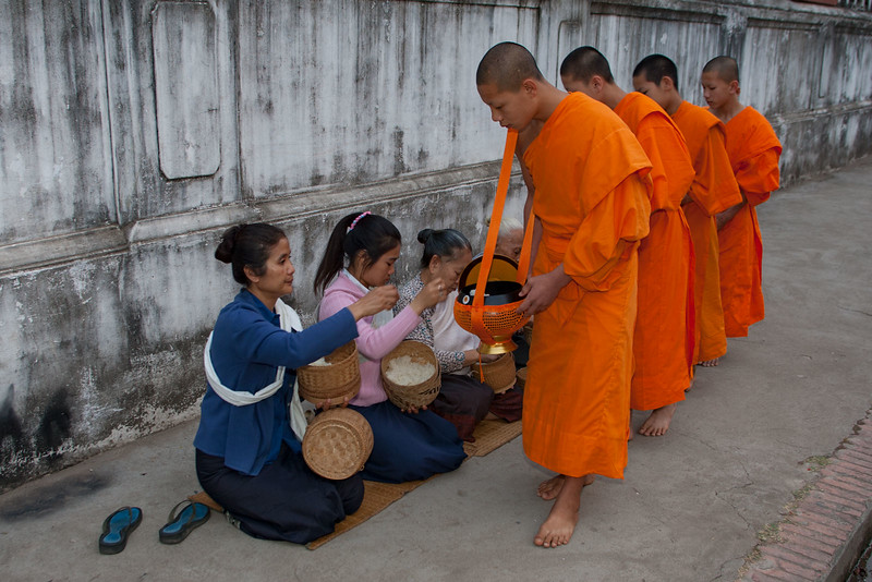 Monks are offered food in morning. Luang Prabang.