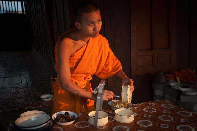 A meal at the temple. Luang Prabang.