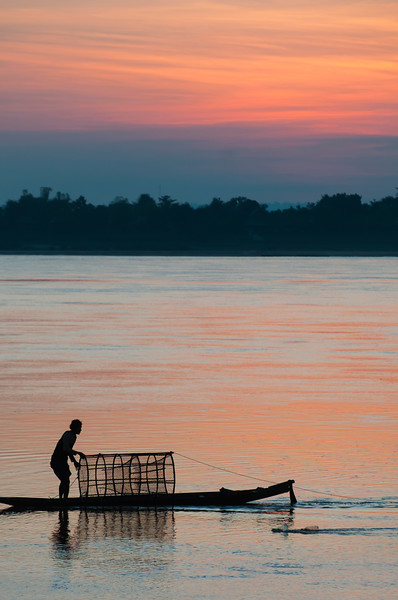 Sunrise on Mekong River, Champasak, Laos.