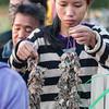 Choosing frogs at morning market, Don Khong Island, Laos