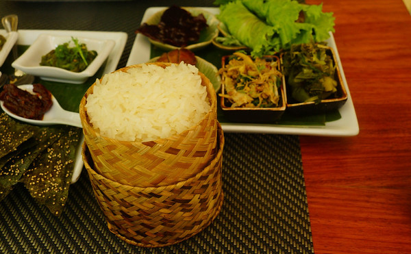 Sticky rice to go along with all of of our Lao finger food at Tamarind in Luang Prabang, Laos