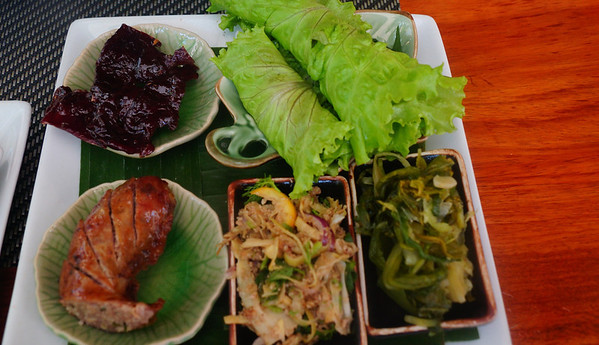 Lao buffalo sausage and Lao buffalo jerky for lunch at Tamarind in Luang Prabang, Laos
