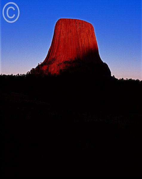 Devil's Tower at sunset.
