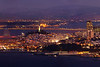 "Photo #2 of 4 from a 30,000 pixel-wide panorama of San Francisco.  This photo can be printed at 4 feet wide with fine resolution of every window with a Marin view!  The entire panorama is available at  <a href=""http://www.patricksmithphotography.com"">http://www.patricksmithphotography.com</a> and can be printed at 16 feet wide with fine resolution!  The entire east side of San Francisco is visible from the Marin Headlands just as the city lights become as bright as the daylight on a very clear evening.  The original photo is a stitched panorama created with the Canon 5D MkII consisting of two l photos tall and 7 photos wide for a total 29677 pixels wide x 4466 high with the Canon 500mm F4 lens.   Explore the city!"