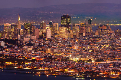 Photo #3 of 4 from a 30,000 pixel-wide panorama of San Francisco.  This photo can be printed at 4 feet wide with fine resolution of every window with a Marin view!  The entire panorama is available at www.patricksmithphotography.com and can be printed at 16 feet wide with fine resolution!  The entire east side of San Francisco is visible from the Marin Headlands just as the city lights become as bright as the daylight on a very clear evening.  The original photo is a stitched panorama created with the Canon 5D MkII consisting of two l photos tall and 7 photos wide for a total 29677 pixels wide x 4466 high with the Canon 500mm F4 lens.   Explore the city!