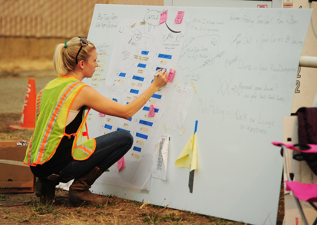 . VALLEJO, CA- OCT. 11, Chae Guillot , of Pinole, updates the usable stall chart as the run-done stables are repaired at the large animal evacuation center in Vallejo at the Solano County Fairgrounds on Wednesday. (Chris Riley/Vallejo Times-Herald)
