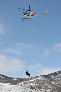 Helicopter transporting a moose during a transplant on January 16, 2006.  Photo by Phil Douglass, Utah Division of Wildlife Resources.