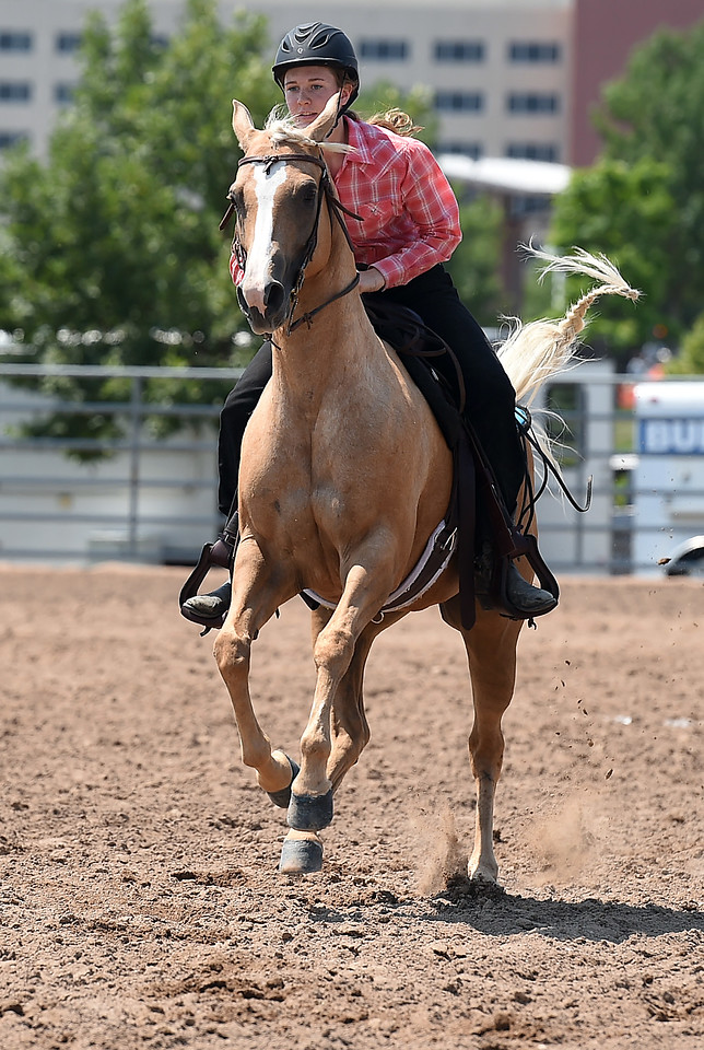 Emily Rollins of Loveland, 13, races back to the gate Wednesday, Aug. 2, 2017, during the Poled Key Hole portion of the Gymkhana competition at the Larimer County Fair in Loveland.   (Photo by Jenny Sparks/Loveland Reporter-Herald)