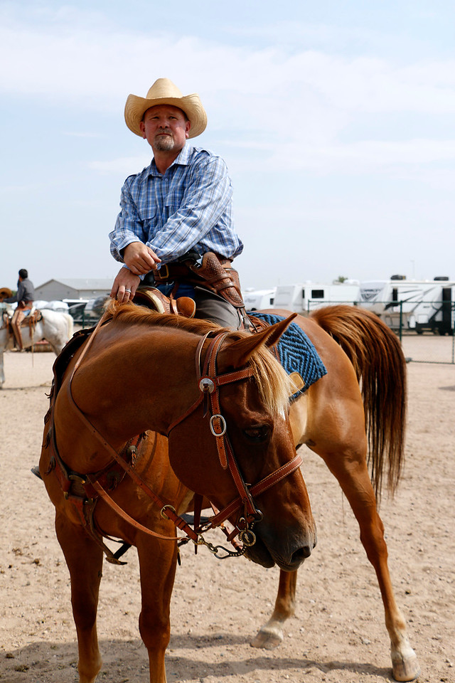 Bob Harty watches his competitors Saturday, August 5, 2017 after riding in the mounted shoot on Junior at the Larimer County Fair. (Michelle Risinger/ Loveland Reporter-Herald)