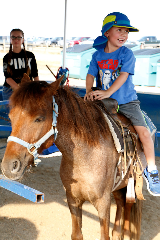 Cameron Stevens, 5, takes a spin on the pony rides Friday, August 4, 2017, at the Larimer County Fair. (Michelle Risinger/ Loveland Reporter-Herald)