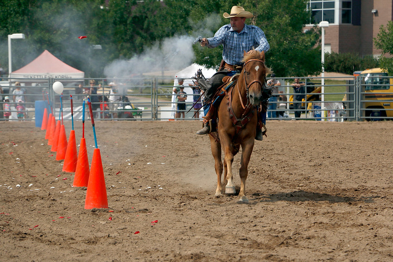 Bob Harty of Wyoming competes Saturday, August 5, 2017 in a mounted shoot competition with his trusty steed, Junior at the Larimer County Fair. (Michelle Risinger/ Loveland Reporter-Herald)