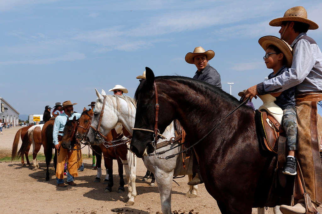 . Competitors line up Saturday, August 5, 2017 before riding in the mounted shoot at the Larimer County Fair. (Michelle Risinger/ Loveland Reporter-Herald)