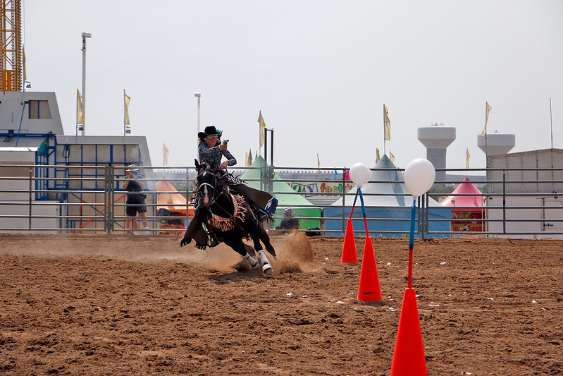 Jessica Emmons rides Shaw Saturday, August 5, 2017 in the mounted shoot at the Larimer County Fair. Emmons has been competing since she was six years old. (Michelle Risinger/ Loveland Reporter-Herald)