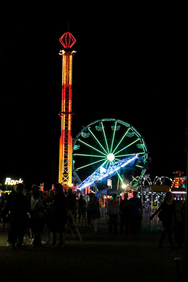 Larimer County Fair goers enjoy the rides and lights Friday, August 4, 2017 at The Ranch. (Michelle Risinger/ Loveland Reporter-Herald)