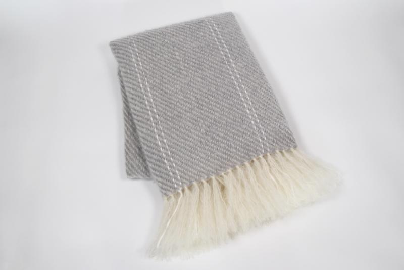 Handwoven Mohair Throw - Fog Grey