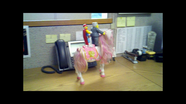 Months later, Larry and Duff are caught on their office's security camera stealing Princess, a toy horse in a co-worker's cubical. Princess was intended to be a birthday gift for the co-worker's six year old daughter.