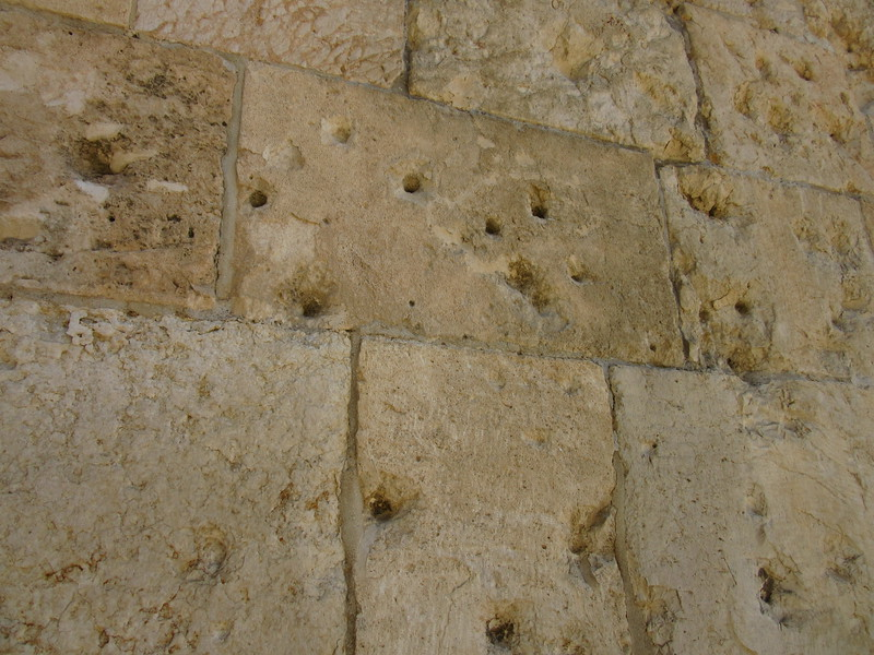 Bullet holes from when the Old City was captured during the Six Day War