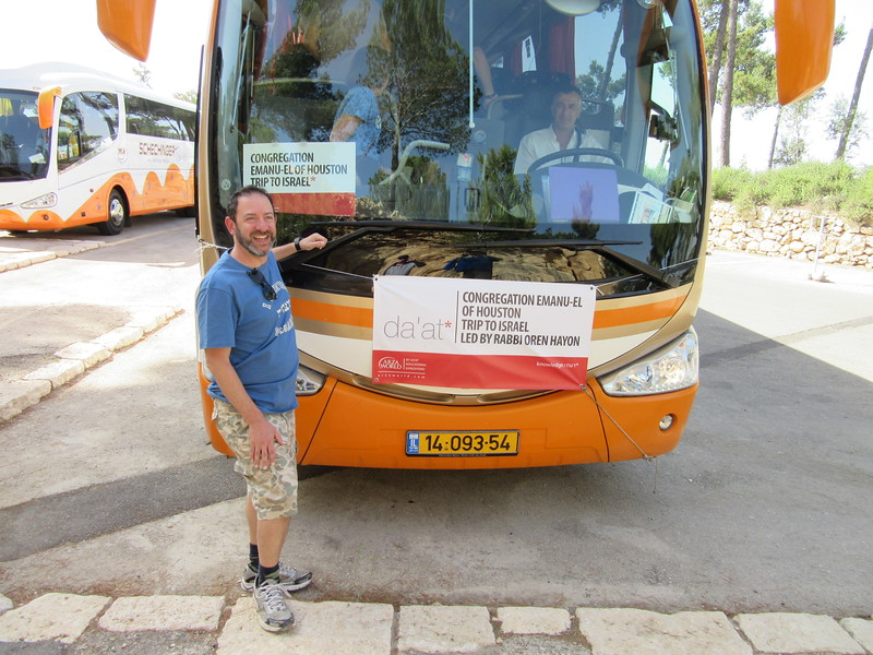 Rabbi Hayon and our bus.