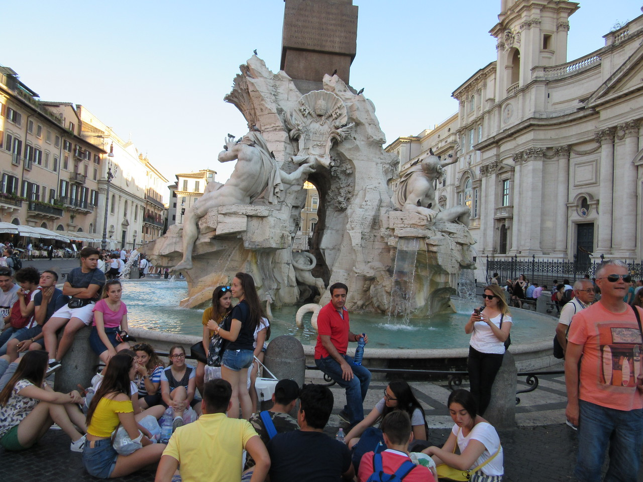 Fountain of the Four Rivers ( Four River Gods of Piazza Navona).   The four rivers are: The Ganges, The Nile, The Danube and The Rio della Plata.
