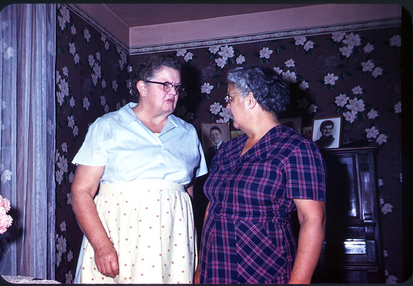 1960. Slide 60-734. Ruth Larson with her sister