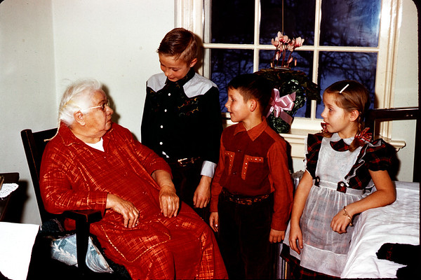 January 1, 1958.  Grandma Hoy with John, Eric, and Sig. Slide 323.