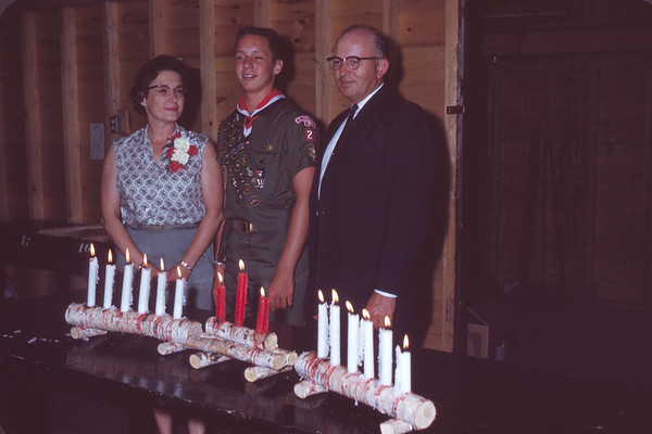 1962 - July 24. Lorraine, Greg, & Merton Anunson. Greg Received Eagle Scout Rank. Slide 62-883.