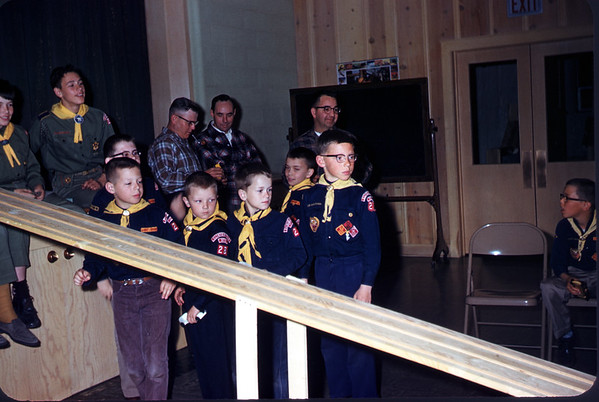 April 1961. Scout pine wood derby races. Slide 61-795.