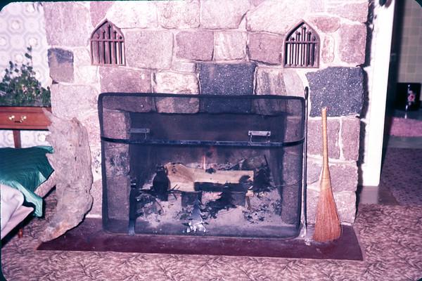 Slide 1961. Fireplace of La StofKa's cottage - tellow birch lake. Eagle River, WI. Slide 61-819