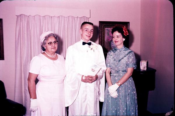 1961. Grandma Larson, John Larson, Irene LaStofka. John's Confirmation. Slide 61-811.