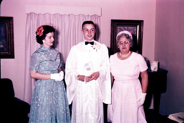 1961. Irene LaStofka, John Larson, Grandma Larson. Slide 61-810.