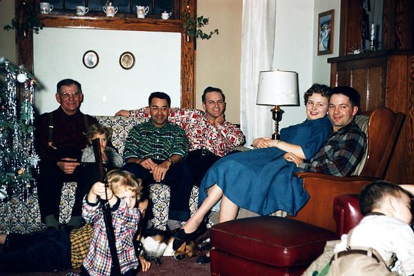 1956.  Slide 148. Clarence, Linda, Cliff, Dave LaStofka, Nancy, Dave Larson.  Karen, John, Queenie, Mark.
