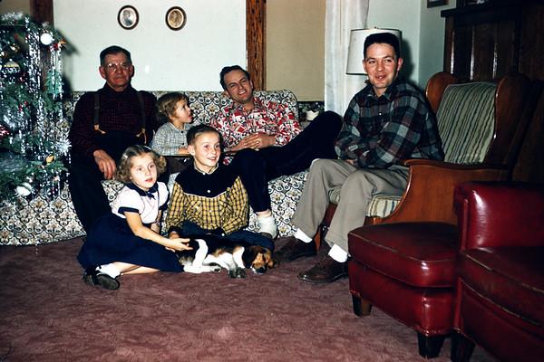 1956 - slide 147. Clarence Larson, Sig, Linda, John, Dave LaStofka, Dave Larson. Queenie