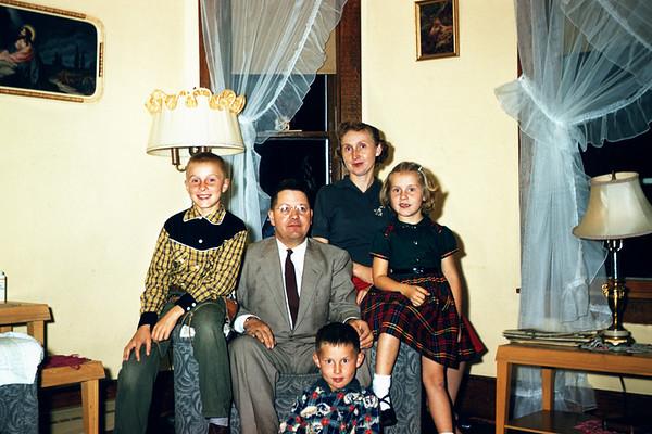 Arne Larson Family At Cliffords. John, Arne, Eric, Madelyn, Sig.  September 1956.  Slide 130.
