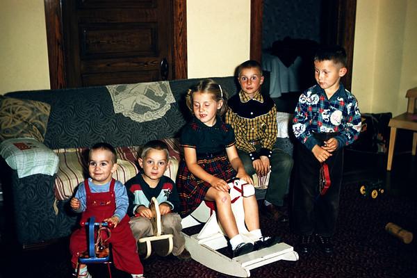 Larson Children.  Mark, Chuck, Sig, John, Eric.  September 1956. Slide 128.