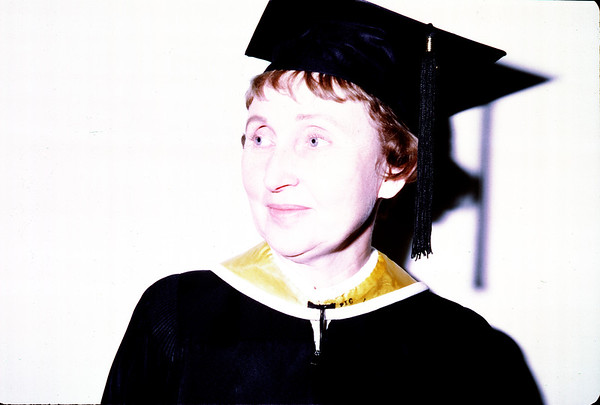 January 25, 1970. Meg with M.A. Cap and gown.
