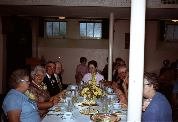 June 28, 1970. Wedding table. Aunt Esther in foreround.