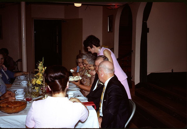 June 28, 1970. Wedding cake being served by irene.