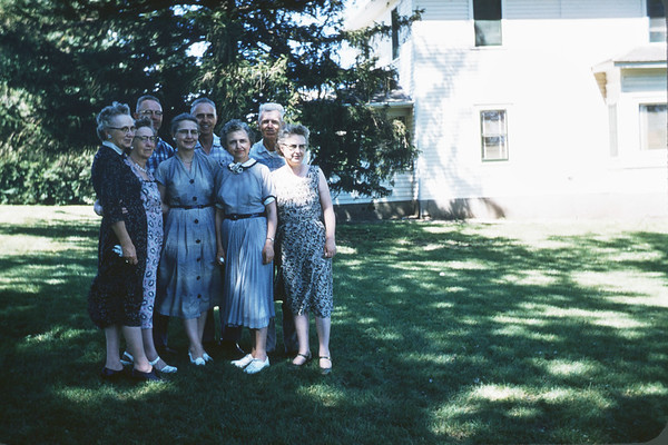 June 20, 1957. Scarvie Family at Norman's. Council Bluffs, Iowa. Slide 226. Arla Lee Family
