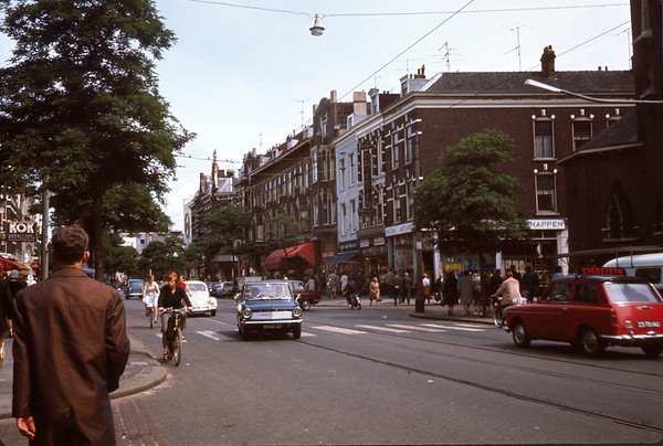 August 1966. Street in Rotterdam.  Slide 66-1493.
