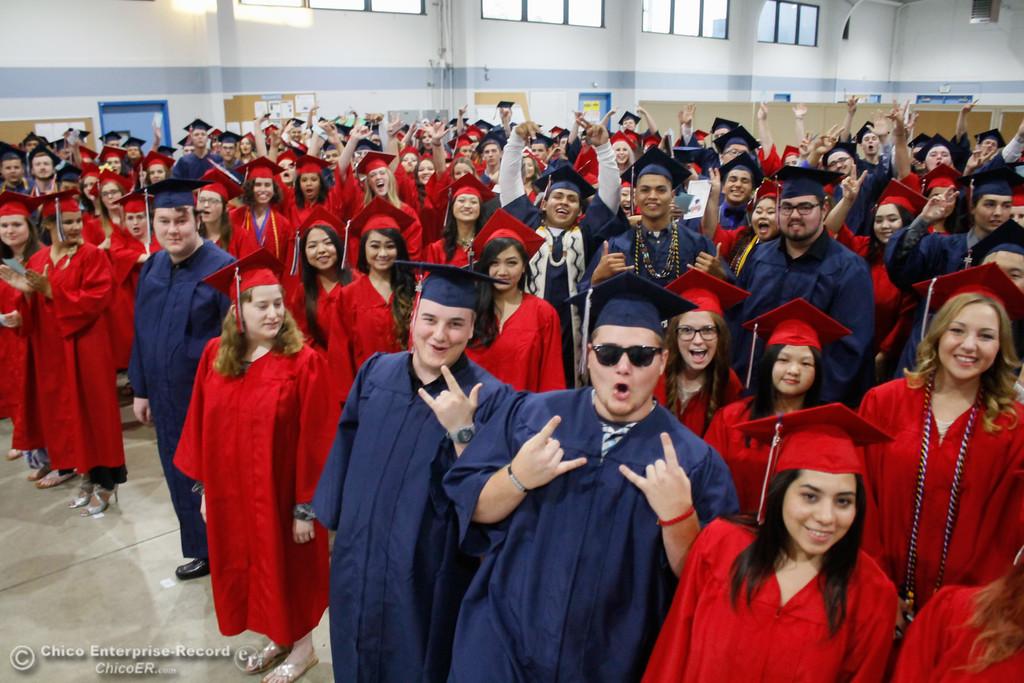 . The Las Plumas High School graduating class of 2017 prepare to enter their commencment ceremony Friday June 9, 2017 at Harrison Stadium in Oroville, California. (Emily Bertolino -- Mercury Register