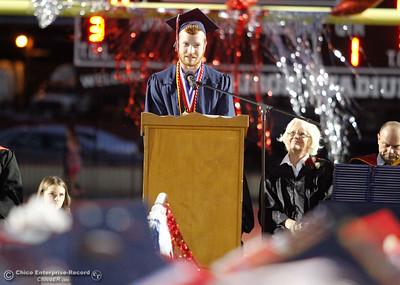 Edwin Bird, Las Plumas High School valedictorian passes on words of wisdom to the graduating class of 2017 Friday June 9, 2017 at Harrison Stadium in Oroville, California. (Emily Bertolino -- Mercury Register