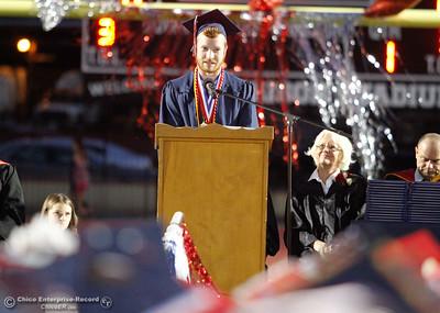 Edwin Bird, Las Plumas High School valedictorian passes on words of wisdom to the graduating class of 2017 Friday June 9, 2017 at Harrison Stadium in Oroville, California. (Emily Bertolino -- Mercury Register