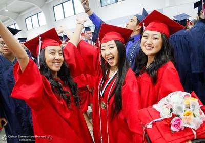 Excited Las Plumas High School students celebrate before their graduation ceremony Friday June 9, 2017 at Harrison Stadium in Oroville, California. (Emily Bertolino -- Mercury Register