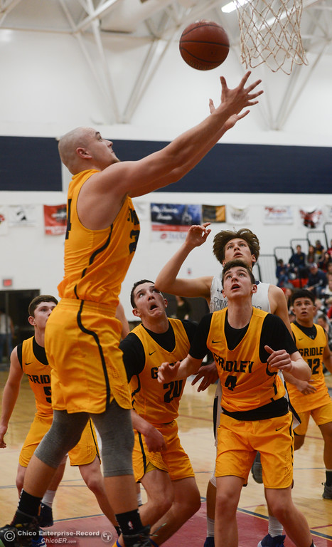 . All eyes are on Gridley\'s Tyler Little (24) as he goes up for a rebound, Friday, February 2, 2018, in Oroville, California. (Carin Dorghalli -- Enterprise-Record)