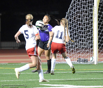 Cross town rivals Las Plumas and Oroville High boys and girls soccer challenge each other Tuesday January 16, 2018 at Harrison Stadium in Oroville, California. (Emily Bertolino -- Enterprise-Record)