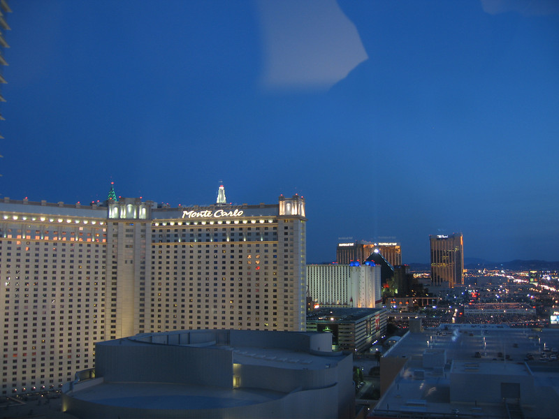 Looking out our window, south towards the Monte Carlo.  Mandalay Bay is in the distance.
